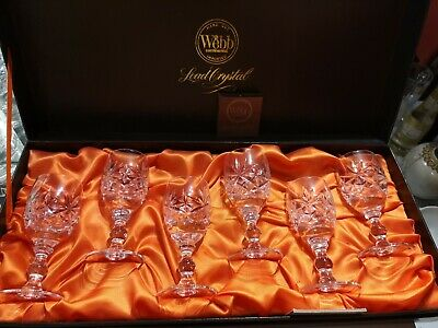 6 Webb Continental Sherry/Port Glasses Hand Cut Lead Oxford Crystal Boxed • 48£