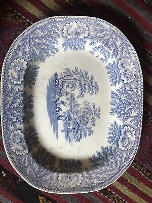 Antique Staffordshire Oval Meat Plate Blue & White Oriental Style • 15.99£