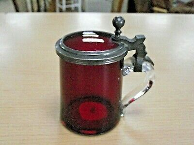 Lovely Antique Cranberry Glass & Pewter Small Tankard / Stein • 45£
