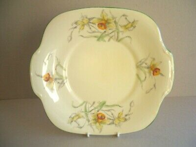 Yellow Crown Staffordshire Handpainted Daffodil Cake Plate • 12.75£