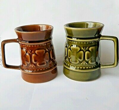 1970'S Holkham Pottery Tankard Mugs 1 Green, 1 Brown   • 12.20£