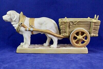 Antique Royal Dux St. Bernard/Pyrenees Working Dog With Cart Pink E Triangle • 263.22£