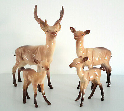 Beautiful Beswick Standing Deer Stag, Doe And Two Fawns In Mint Condition • 120£