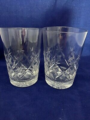 Superb Vintage Set 2 X Cut Crystal Glass Large WHISKEY TUMBLERS GLASSES.  • 20£