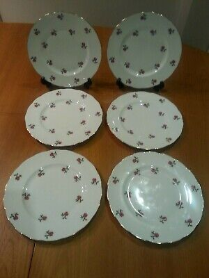 Set Of 6x Ridgway Colclough Ditsy Red Roses Large 8  Plates  • 25£
