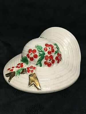 Vintage  Summer Bonnet  Hand Painted China Wall Pocket With 22kt Gold Detail • 18£