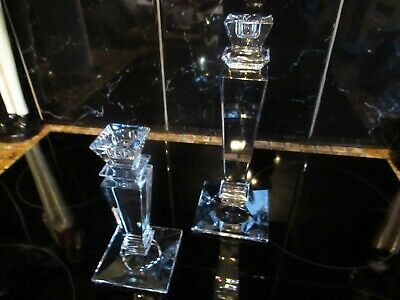 2 Solid Crystal Candle Sticks Stunners Very Heavy * Height 9  & 6  * • 23£