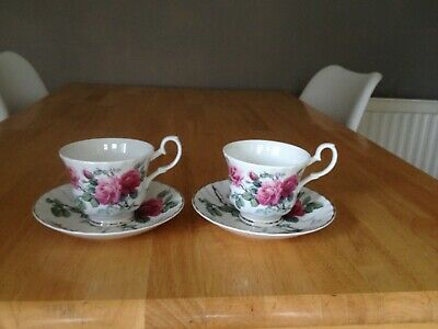Pair Roy Kirkham  English Rose Cups And Saucers • 19£