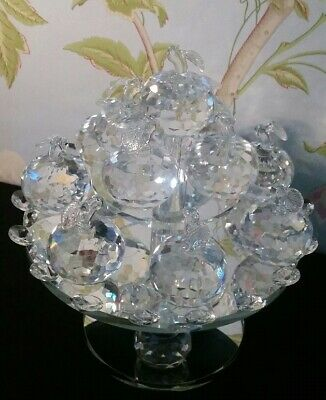Crystal Mirrored Apples Ornament On Rotating Stand Living Room, Home Decor • 25.50£