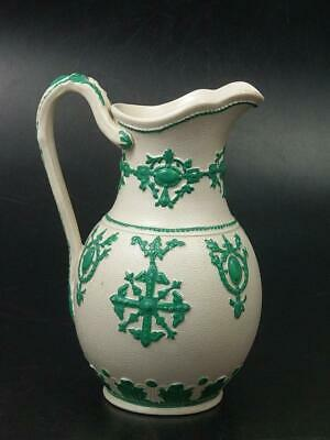 Salt Glaze Stoneware Relief Moulded Jug White And Green • 79£