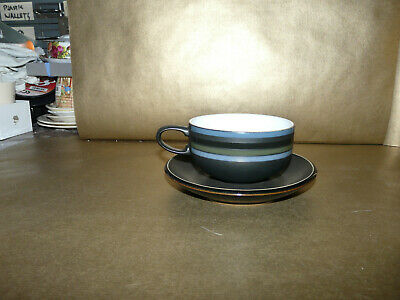 Denby Jet Stripes Cup And Saucer • 9.99£