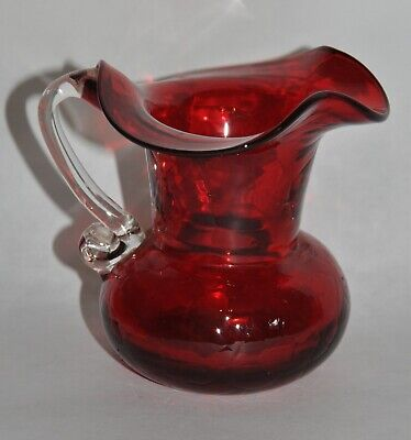 Vintage Kanawha Ruby Red Crackle Glass Creamer Pitcher Clear Handle 3  Ruffled • 12.23£