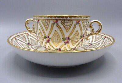 Exquisite 18th C 2-Handled Tasse à Toilette Sevres Cup With Saucer By Chauvaux  • 175£