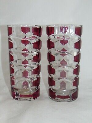 2 X VINTAGE J G DURAND FRENCH  GLASS VASES CRANBERRY CLEAR TRIANGULAR 17CM • 9.99£