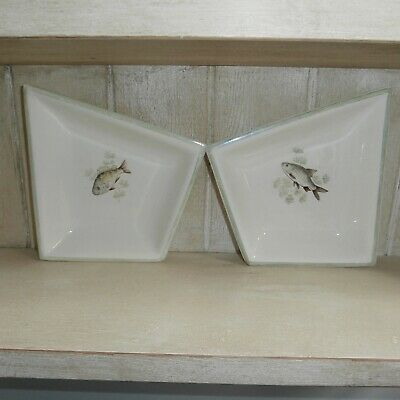 Cream Green Fish Dishes For Snacks Olives By Lancaster & Sandland Abstract Shape • 8£