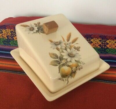 Vintage Brixham Pottery Cheese Dish Cream With Yellow Flowers & Fruit Print • 17£
