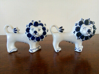 A Pair Of Vintage Russian Hand-Painted Gzhel Lions USSR Porcelain Blue And White • 25£