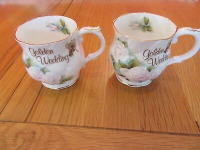 Lovely Vintage Queens Fine Bone China Golden  Wedding Mugs X 2 • 7.50£