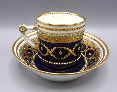 Superb 18th Century Sevres Jewelled Porcelain Cup & Saucer By Le Guay • 375£