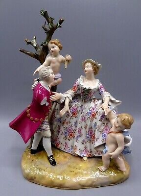 Superb Quality Meissen Figure Group Of Lovers And Cherubs - Model 831 • 475£