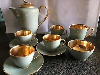 Vintage Jersey Pottery Coffee Set. Green Colour With Gilt Lining. • 65£