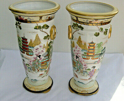 Large Pair Of Noritake Handpainted Porcelain Vases With Gheisha Decoration,1920s • 30£