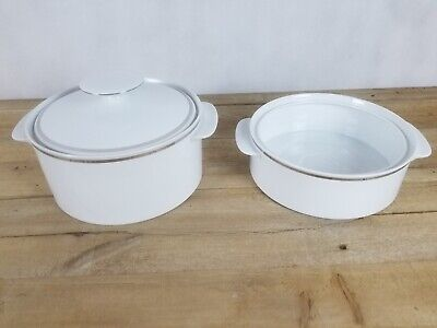 Thomas Germany Casserole Vegetable Tureen Dish White Thick Silver Platinum Band • 26£