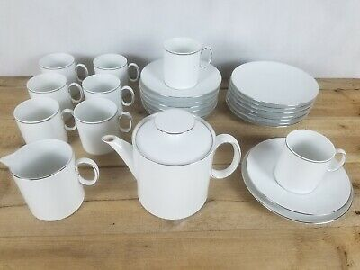 Thomas Tea Set Cup Saucer Plate Teapot Creamer White Thick Silver Platinum • 64£