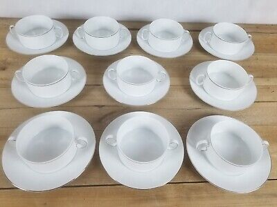 10 X Thomas Germany Handled Soup Bowls & Plates White Thick Silver Platinum • 49£