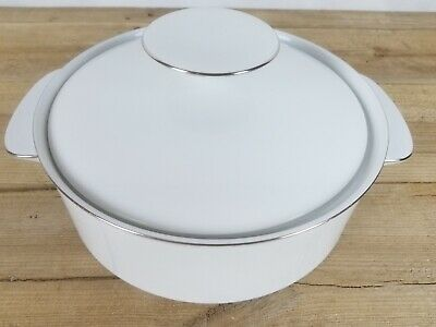 Thomas Germany Casserole Vegetable Serving Dish White Thick Silver Platinum • 17.99£