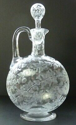ANTIQUE Decanter - Victorian Engraved Stourbridge Convolvulus Claret Jug • 179.99£