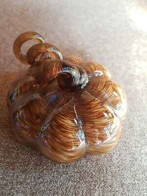 Large Glass Pumpkin Paper Weight Or Ornament  • 1.75£