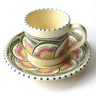 Vintage Honiton Devon Pottery Coffee Cup & Saucer Eastern Scroll 1940/50s • 10£
