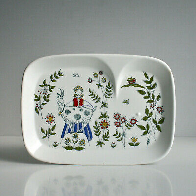 Figgjo Flint Norge. Figgio Norway Goat Girl. Vintage Snack Plate. Mid Century. • 1.40£