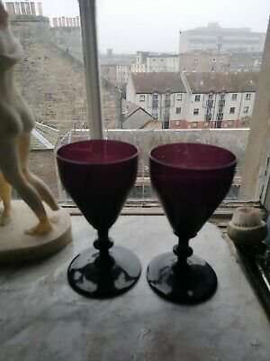 Victorian Amethyst Glass Wine Glasses  Purple  Antique • 2.20£