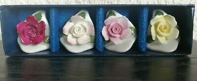 Rare Set Of 4 Boxed Aynsley Hand Modelled & Hand Painted Fine Bone China Roses • 5.99£