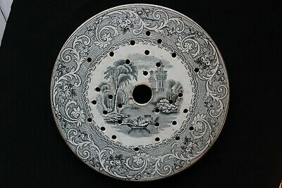 Antique 19th Century Victorian Circular Drainer Plate, Transfer Printed • 14.95£