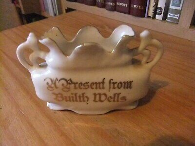 A Porcelain Small   Pot Souvenir From Builth Wells In Wales  • 4£