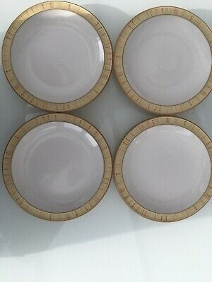 DENBY Caramel Stripes 4 X Tea / Side Plates 18.5 Cm Diameter • 12.50£