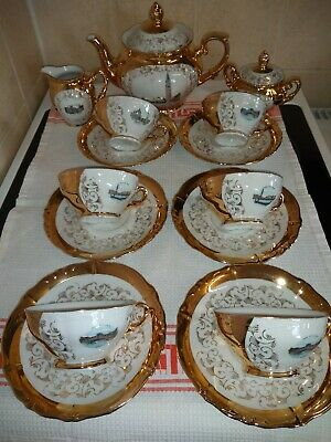 Bavaria 15 Piece Tea Set.gold With Venzia/ Piazza /Marco Pictures On The Set • 25£