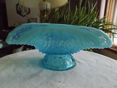 Antique  NORTHWOOD  Blue Opalescent Shell Nautilus Dish • 8.90£