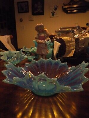 Fostoria Heirloom Blue Opalescent Glass Bowl LARGE  • 25.25£