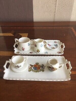 """Vintage Miniature Crested Ware Teacup & Saucer, Sugar Bowl, Tray Etc By """"Gemma"""". • 9.99£"""