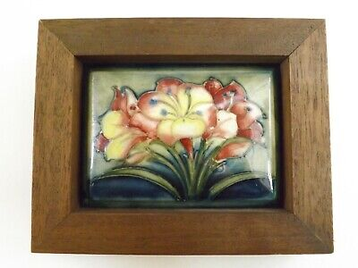 Stunning Vintage Moorcroft Pot Lid In The Lilies Pattern In Wooden Frame R1461/6 • 25£