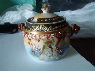 Stunning Little Far Eastern Preserve Pot With Lid • 2.50£