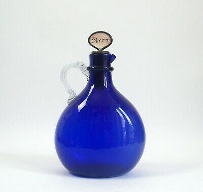 Fine Antique Bristol Blue Glass Decanter - Mother Of Pearl Stopper • 30£