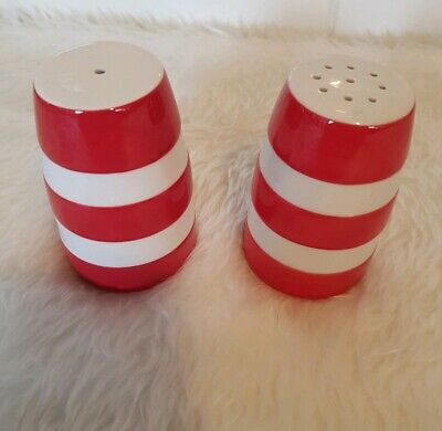 T G Green & Co. Cornishware Vintage Salt & Pepper Pots Red White Stripe  • 24.99£