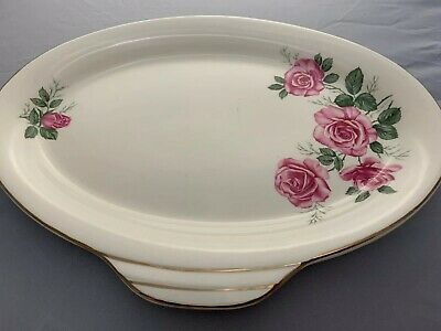 Alfred Meakin Pink Roses Design Oval Serving Dish With Side Handle • 12£