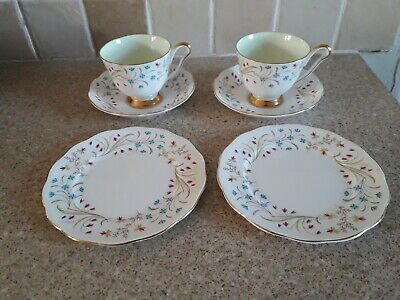 Queen Anne China, Lucerne, 2 Cups And 2 Saucers, 2 Side Plates In Vcg • 2£