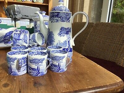 Spode Blue Italian Coffee Pot And Eight Coffee Cans And Saucers • 50£